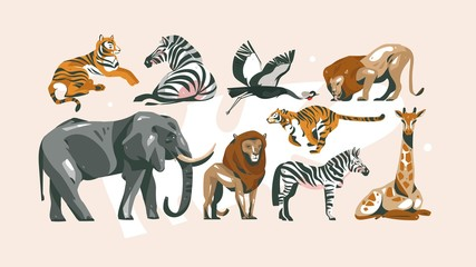 Hand drawn vector abstract cartoon modern graphic African Safari collage illustrations art collection set bundle with safari animals isolated on pastel color background