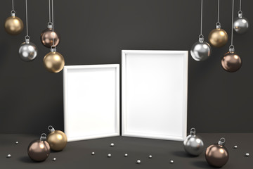 Christmas template card with frame and Metallic golden, silver, copper christmas ball decorations on a dark background 3d rendering. 3d illustration minimal style, christmas and new year concept.