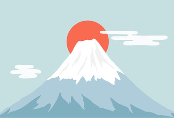 Papiers peints Bleu clair 富士山と日の出
