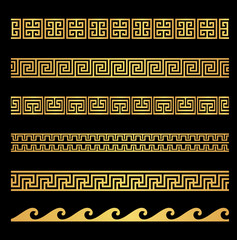 Collection of gold Greek Key / Meander geometric ornamental borders. Luxury decorative designs on black background.