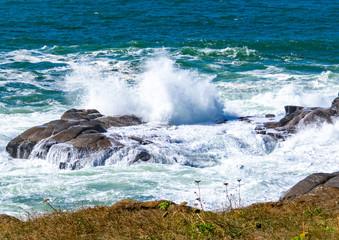 Waves crashing in Boiler Bay Oregon