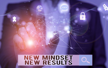 Word writing text New Mindset New Results. Business photo showcasing obstacles are opportunities to reach achievement Picture photo system network scheme modern technology smart device