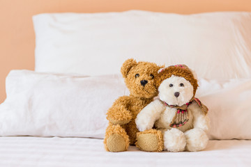 Cute little fluffy brown and white teddy bear on the bed with space on white pillow