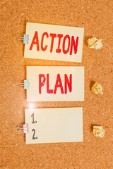 Handwriting text writing Action Plan. Conceptual photo detailed plan outlining actions needed to reach goals or vision Vertical empty sticker reminder memo square billboard corkboard desk paper