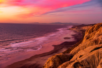 Sunset at Torrey Pines Gliderport in San Diego California