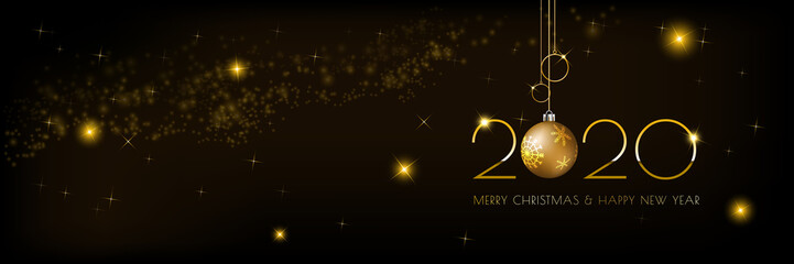 Background Christmas banner design with glowing glittering golden lights