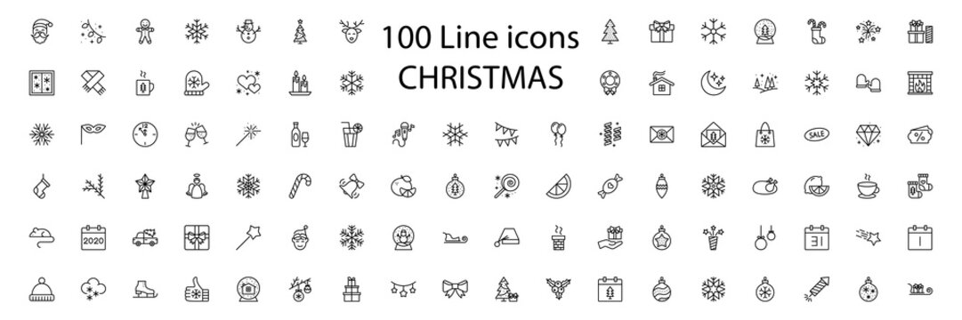 100 New Year Christmas thile line icons set. Vector illustrations collection eps10.