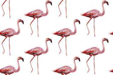 Poster Flamingo Pink flamingos on white background. Seamless pattern for fabric, paper. Summer concept design.