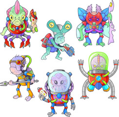 cute cartoon alien from outer space, set of funny pictures