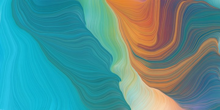 curved lines background or backdrop with teal blue, peru and dark turquoise colors. good as graphic element