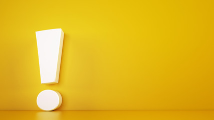 Big white exclamation mark on a yellow background. 3D Rendering