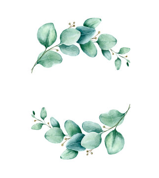 Watercolor hand painted frame with eucalyptus leaves. Frame for wedding invitations, save the date or greeting cards..