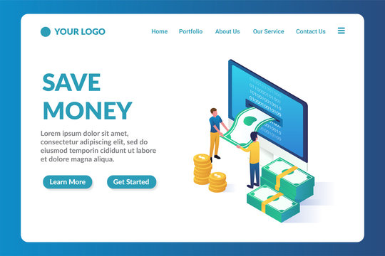 save money isometric website landing page template
