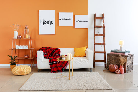 Stylish interior of room with sofa and pumpkins