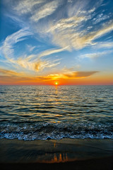 Vertical Image of sunset over the sea