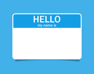 Tag blank sticker. Hello my name is