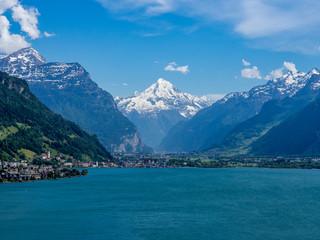 blick auf einen see mit bergen (alpen) (altdorf schweiz)