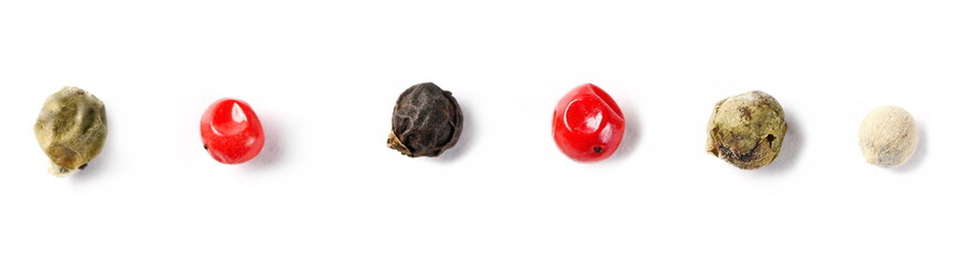 Set colorful pepper isolated on white background, macro and top view