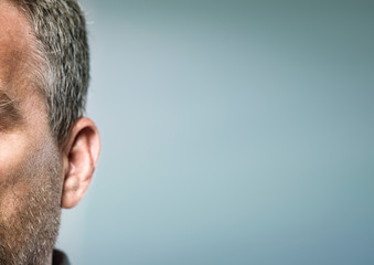 human ear detail  from sideview attention   concept Papier Peint