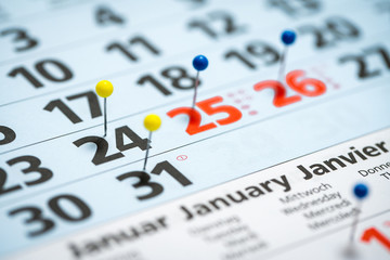 calendar with pins marking the christmas holidays and new years eve of 2019