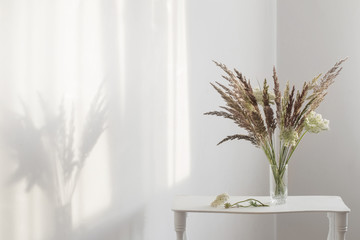wild grass plants in glass vase in sunlight in white interior
