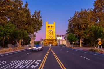 Tower Bridge in Sacramento California around Sunset