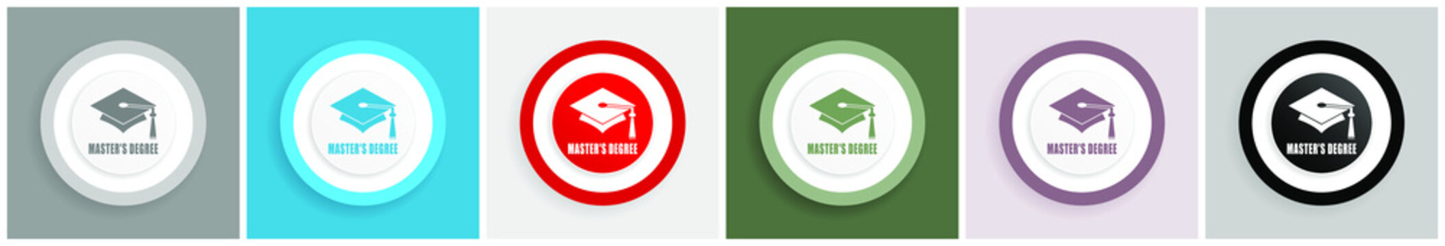 Masters degree icon set, colorful flat design vector illustrations in 6 options for web design and mobile applications