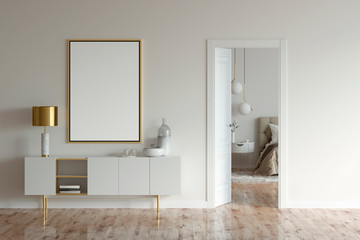 Mock up poster and a cabinet with lamp and decor in beige interior with open door to modern bedroom. 3d illustration