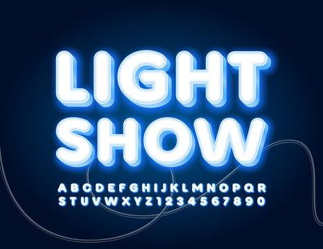 Vector poster Light Show with glowing Font. Neon illuminated Alphabet Letters and Numbers