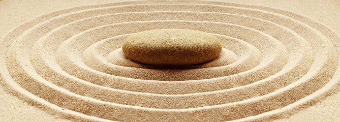 Photo sur Toile Zen pierres a sable zen garden meditation stone background with stones and lines in sand for relaxation balance and harmony spirituality or spa wellness