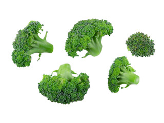 Five fresh broccoli isolated on white background with copy space for text or images. Edible vegetable with large flowering head. Side view. Close-up.