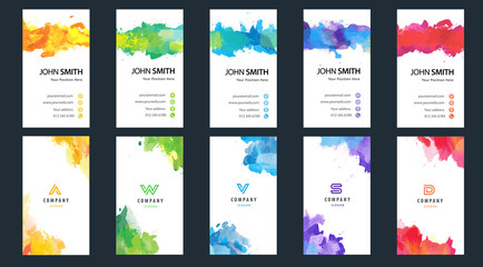 Fotobehang - Big set of bright colorful vertical business card template with vector watercolor background