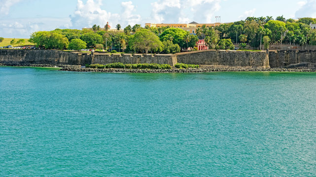 View from the sea of the Old City defensive walls in San Juan , Puerto Rico