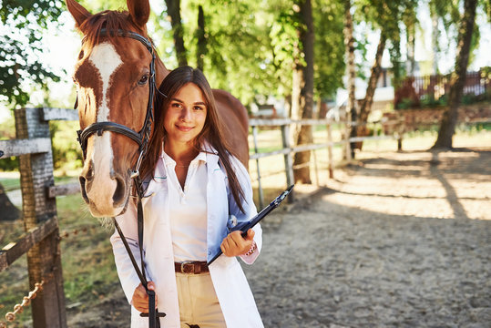 With notepad in hands. Female vet examining horse outdoors at the farm at daytime