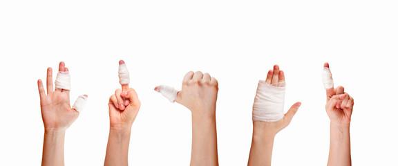 first aid adhesive bandage isolated on white