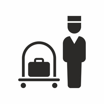 Luggage cart icon. Vector icon isolated on white background.