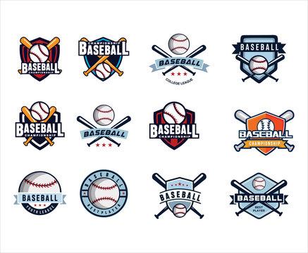 Set Of Baseball championship logo design inspiration. Template logo  . Baseball Logo Template . Bold, Playful, Training Logo Design . Sport Logo
