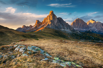 Landscape of beautiful autumn picturesque mountains Fotomurales