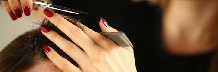Hairdresser Hands Holding Scissors and Hairbrush