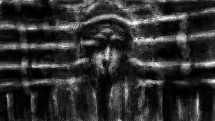 Human face in the wall with drainpipes. Black and white illustration in horror and fiction genre with coal and noise effect.