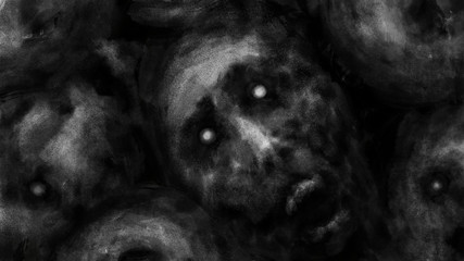 Dark faces of corpses the screaming. Black and white illustration in horror genre. Wall mural