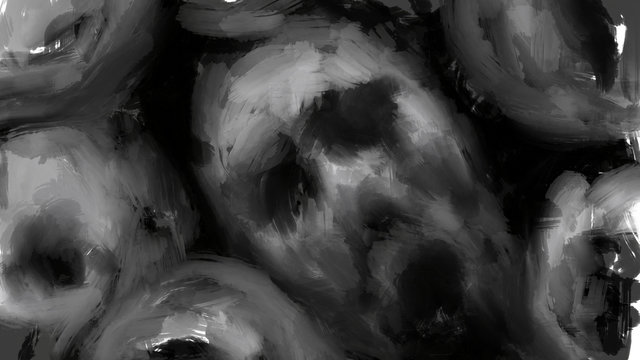 The faces of the screaming dead. Black and white illustration in horror genre.