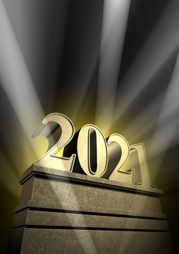 new year 2021, New Year's day, number in spotlight at pedestal