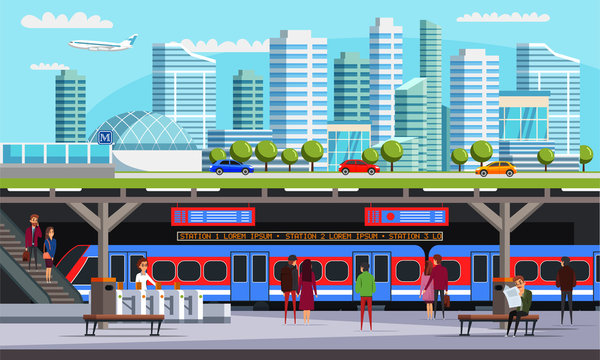City with subway station flat vector illustration