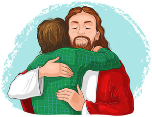 Jesus hugging child image. Vector cartoon christian illustration