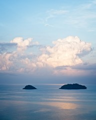 Two lonely islands waiting for the morning sun to rise. Thailand, Koh Chang.