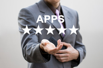 Business key rating apps on phone web increase