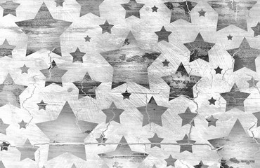 Stars on distressed old vintage black and white background wall with cracked peeling paint barn wood grunge texture, faded patriotic July 4th background, veteran's day, memorial day in monochrome silv