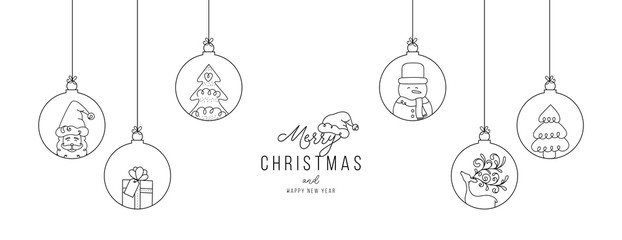 Hand drawn Christmas ball illustration with Santa Claus and friends. Doodles and sketches vector design.