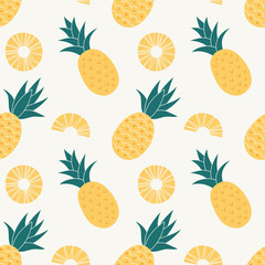Pineapple seamless pattern, tropical ripe fruit. Summer print for textile, wrapping, fabric, wallpaper.